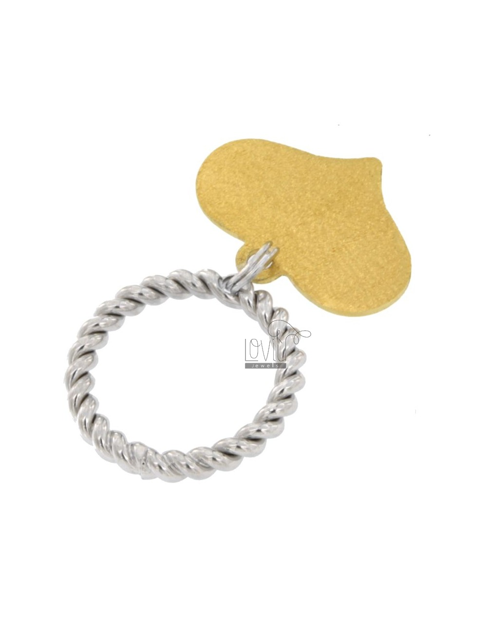 TORCHON RING WITH HEART PENDANT AG RHODIUM AND GOLD PLATED SIZE 925 12 TIT