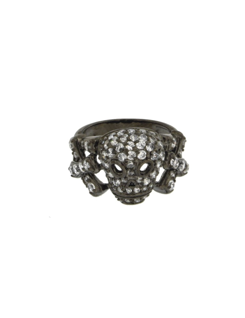 SKULL RING IN SILVER PLATED 925 RUTENIO TIT AND ZIRCONIA WHITE SIZE 18