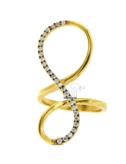 INFINITY RING IN GOLD PLATED AG 925 TIT AND ZIRCONIA SIZE 16
