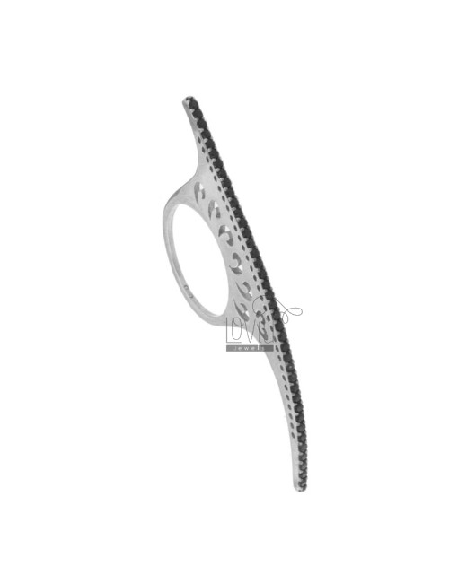 RING TENNIS DRIVE 6 CM IN RHODIUM AG TIT 925 BLACKS AND ZIRCONIA SIZE 18