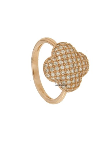 RING FLOWER PETALS IN 4 AG ROSE GOLD PLATED 925 TIT AND ZIRCONIA SIZE 16