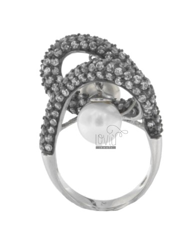 AG PLATED RING WAVE IN rhodium and ruthenium TIT 925 ZIRCONIA AND PEARLS SIZE 16 MM 8