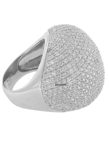 PAVE DOME RING &39IN TIT AG 925 AND ZIRCONIA WHITE SIZE 14