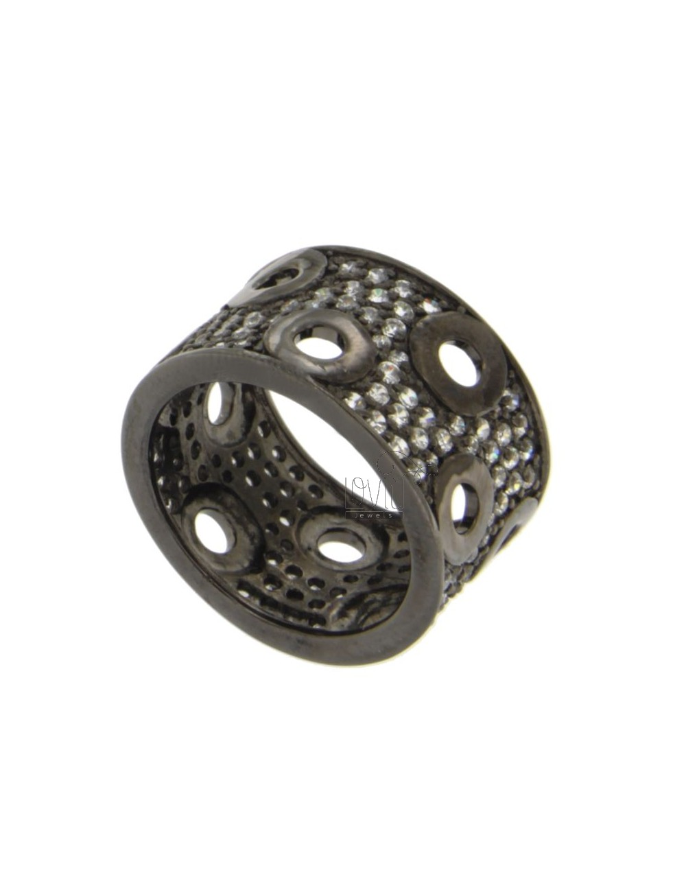 13 MM BAND RING IN SILVER PLATED RUTENIO AND ZIRCONIA SIZE 14