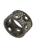 13 MM BAND RING IN SILVER PLATED RUTENIO AND ZIRCONIA SIZE 16