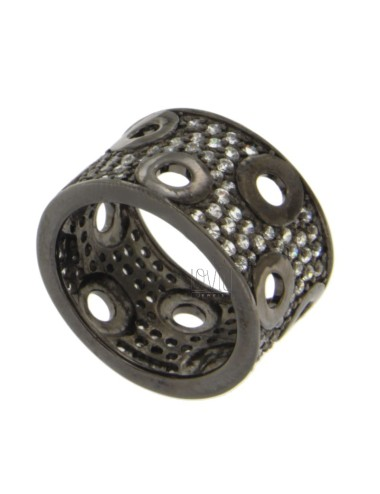 13 MM BAND RING IN SILVER PLATED RUTENIO AND ZIRCONIA SIZE 19
