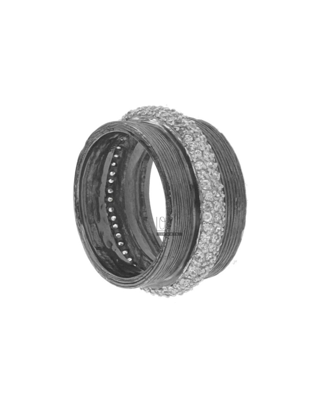 12 MM BAND RING IN AG PLATED RUTENIO 925 TIT AND ZIRCONIA SIZE 18