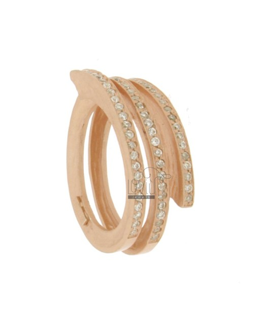 RING SPIRAL 3 TOURS AG ROSE GOLD PLATED 925 TIT AND ZIRCONIA SIZE 15