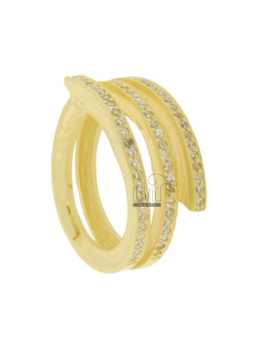 RING SPIRAL 3 TOURS AG GOLD PLATED 925 TIT AND ZIRCONIA SIZE 17