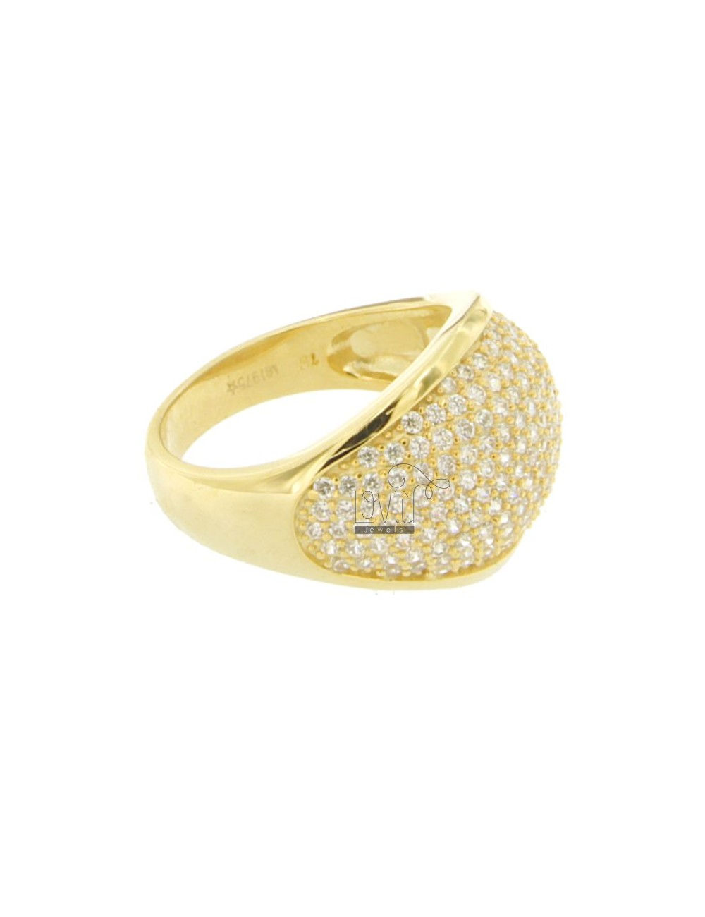 AG DOME RING IN GOLD PLATED 925 TIT AND ZIRCONIA SIZE 16