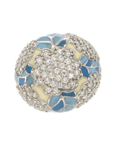 CUPOLONE RING WITH FLOWER IN AG TIT 925 RHODIUM ENAMEL WHITE AND BLUE AND ZIRCONIA SIZE 18