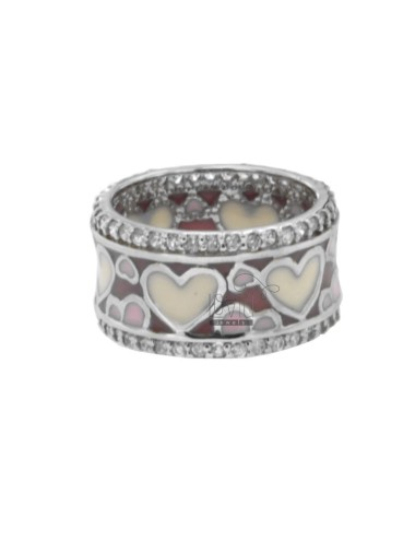BAND RING WITH HEARTS IN TIT AG RHODIUM POLISH 925 PINK AND WHITE AND ZIRCONIA SIZE 14