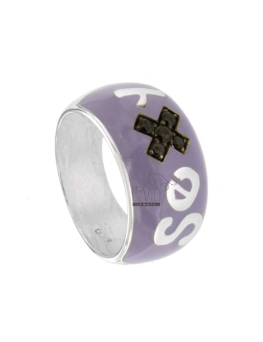 SEX IN BAND RING RHODIUM AG TIT 925 ENAMEL PURPLE SIZE 16 AND ZIRCONIA ERI