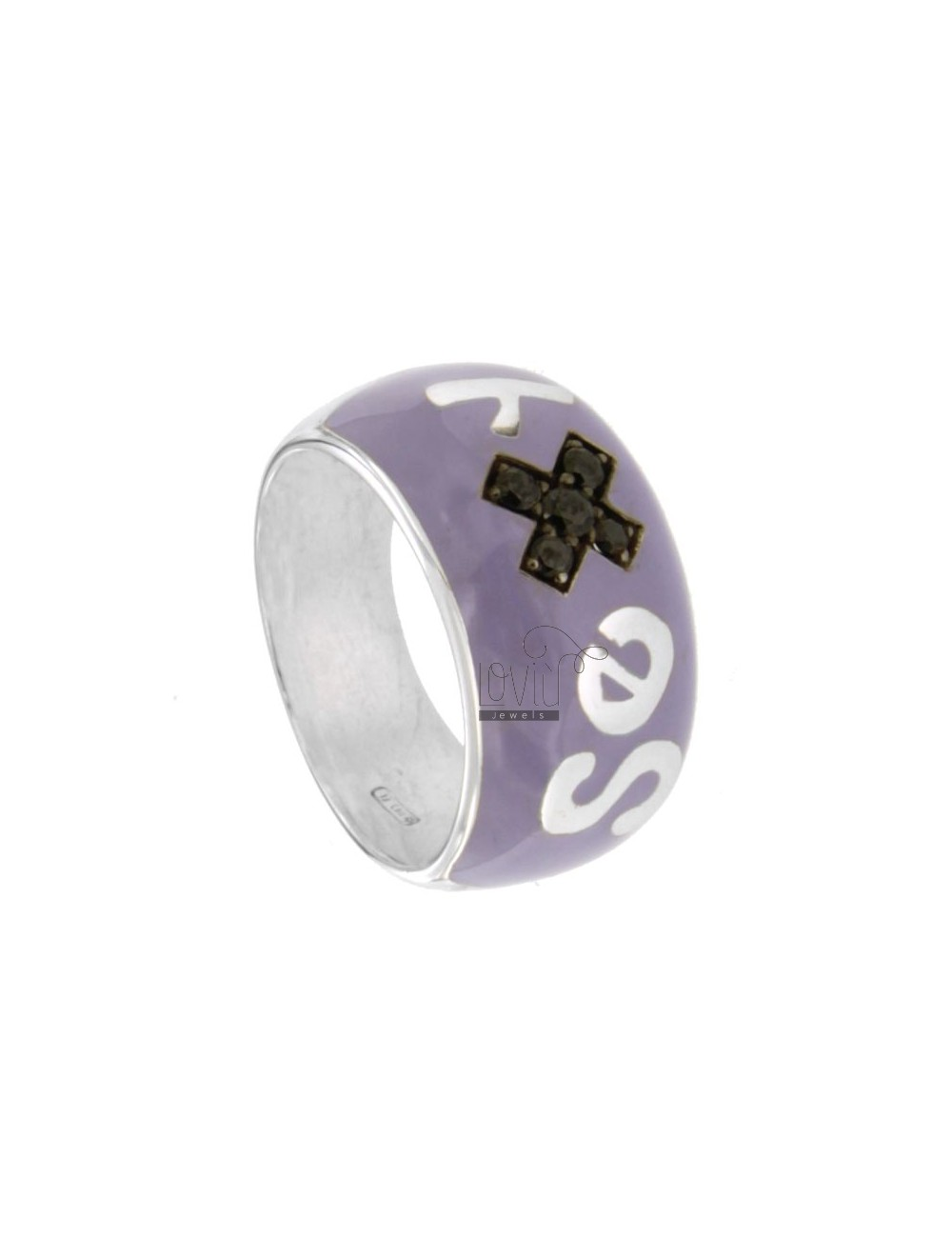 SEX IN BAND RING RHODIUM AG TIT 925 ENAMEL PURPLE SIZE 18 AND ZIRCONIA ERI