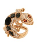 JECO AG RING IN ROSE GOLD PLATED 925 ‰ TIT WITH CABOCHON OF ONYX BLACK AND WHITE ZIRCONIA SIZE 14