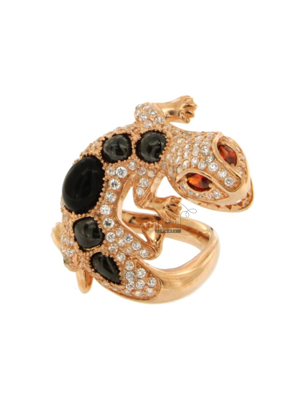 JECO AG RING IN ROSE GOLD PLATED 925 ‰ TIT WITH CABOCHON OF ONYX BLACK AND WHITE ZIRCONIA SIZE 16