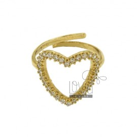 RING SHAPE HEART WITH ZIRCONIA IN PLATED GOLD AG TIT 925 ‰ ADJUSTABLE SIZE