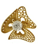 THREE RING FLOWER PETALS PERFORATED AND DIAMOND IN GOLD PLATED AG 925 TIT AND BALL AND RESIN CRYSTAL WHITE SIZE ADJUSTABLE