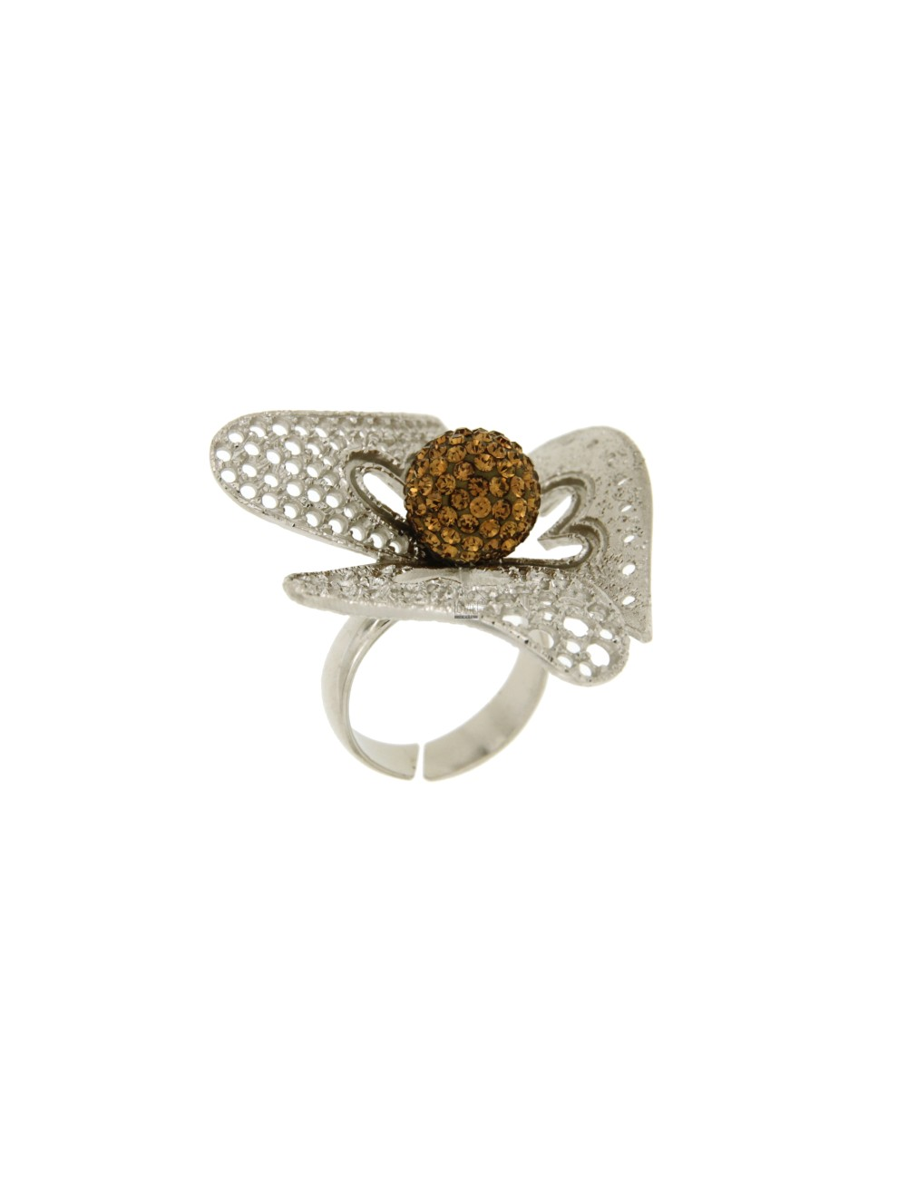 THREE RING FLOWER PETALS AND DIAMOND PERFORATED IN RHODIUM AG 925 TIT AND BALL AND RESIN CRYSTAL CHAMPAGNE SIZE ADJUSTABLE