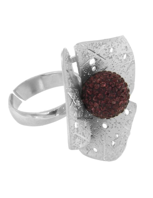 THREE RING FLOWER PETALS AND DIAMOND PERFORATED IN TIT 925 ‰ AG RHODIUM AND BALL PURPLE CRYSTAL RESIN AND SIZE ADJUSTABLE