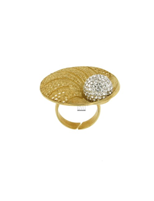 PETAL AND DIAMOND RING PIERCED IN TIT 925 ‰ AG GOLD PLATED RESIN AND CRYSTAL BALL AND WHITE SIZE ADJUSTABLE