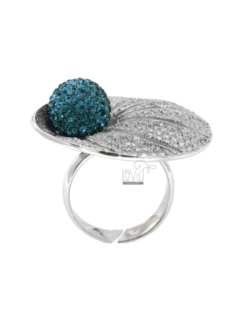 PETAL AND DIAMOND RING PIERCED IN TIT 925 ‰ AG RHODIUM AND BALL CRYSTAL RESIN AND BLUE SIZE ADJUSTABLE