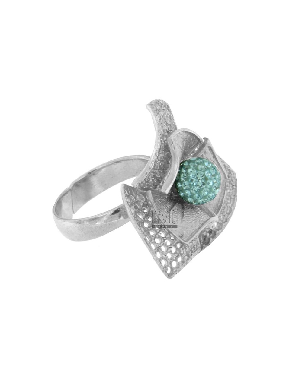 PIERCED AND DIAMOND RING TRIANGLE FLOWER IN RHODIUM AG 925 ‰ TIT RESIN AND CRYSTAL BALL AND BLUE SIZE ADJUSTABLE