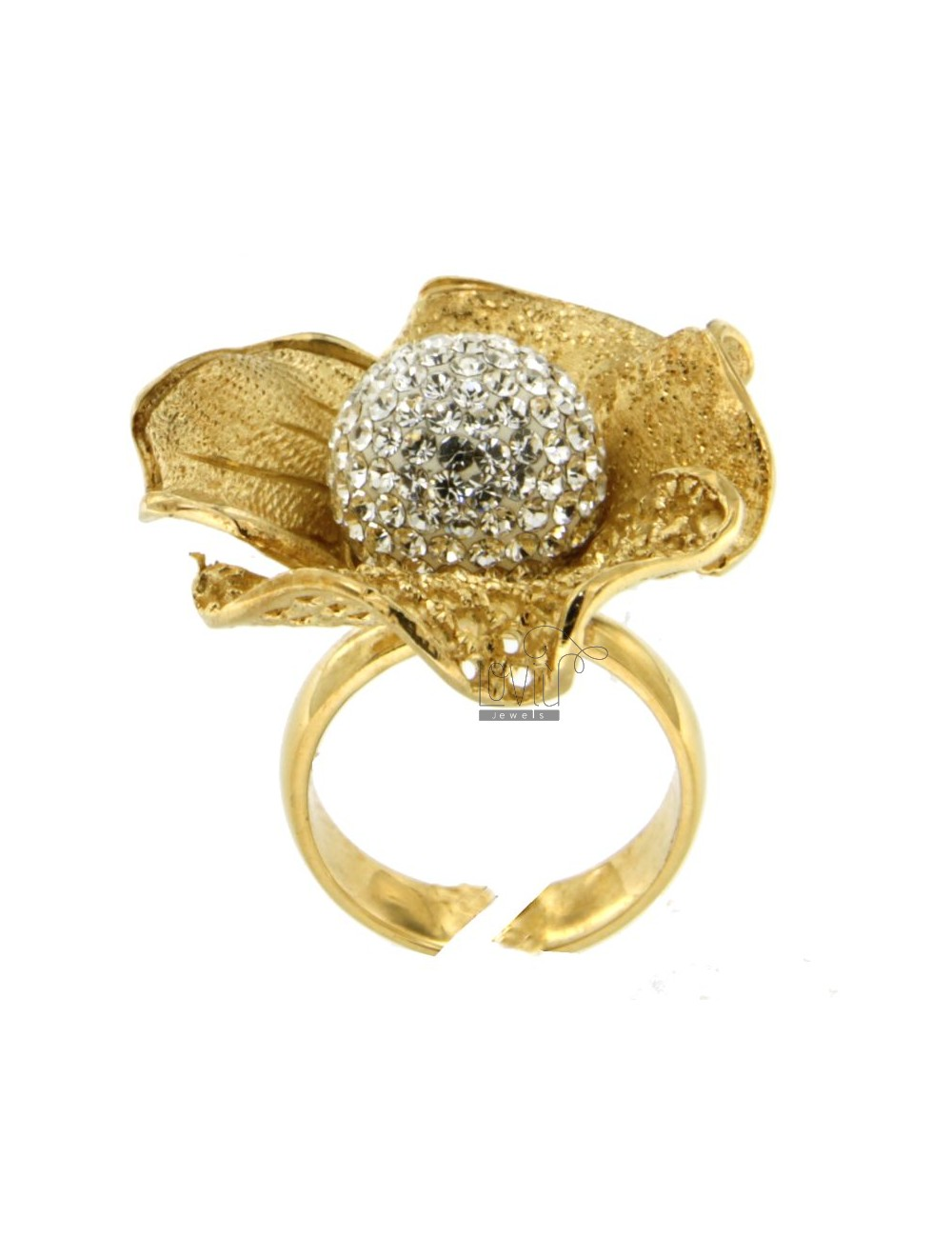 FLOWER AND DIAMOND RING IN PERFORATED AG GOLD PLATED 925 ‰ TIT RESIN AND CRYSTAL BALL AND WHITE SIZE ADJUSTABLE
