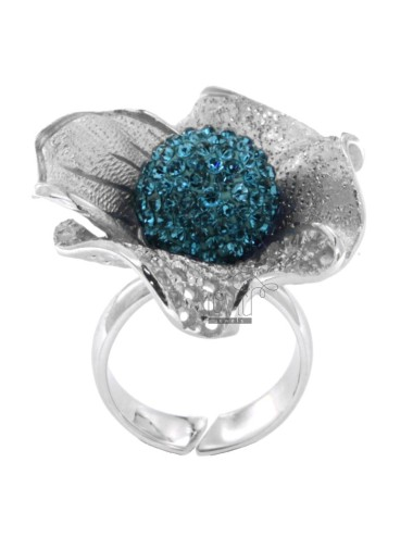 FLOWER AND DIAMOND RING IN PERFORATED AG RHODIUM 925 ‰ TIT RESIN AND CRYSTAL BALL AND BLUE SIZE ADJUSTABLE