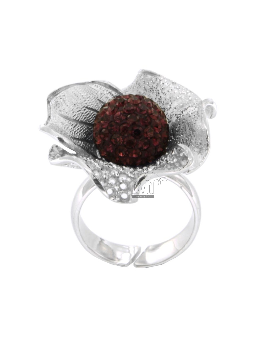 FLOWER AND DIAMOND RING IN PERFORATED AG RHODIUM 925 ‰ TIT AND BALL PURPLE CRYSTAL RESIN AND SIZE ADJUSTABLE