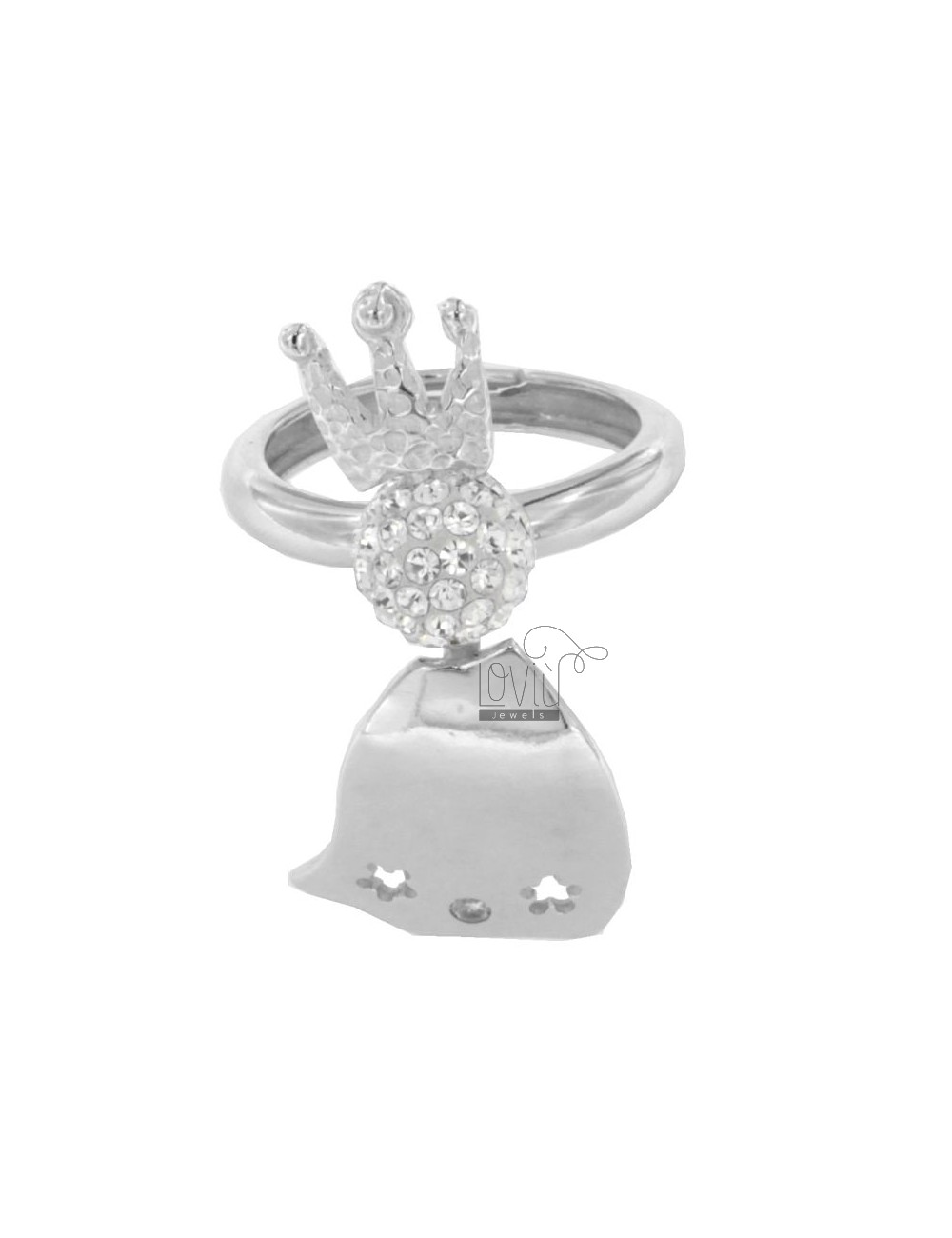 RING IN QUEEN AG RHODIUM 925 ‰ TIT RESIN AND CRYSTAL BALL AND WHITE SIZE ADJUSTABLE