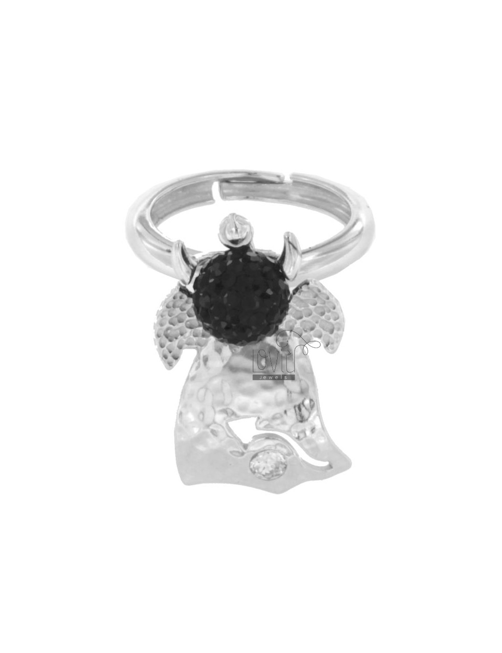 RING RHODIUM TIT QUEEN AG 925 ‰ CRYSTAL RESIN AND BLACKS AND BALL SIZE ADJUSTABLE