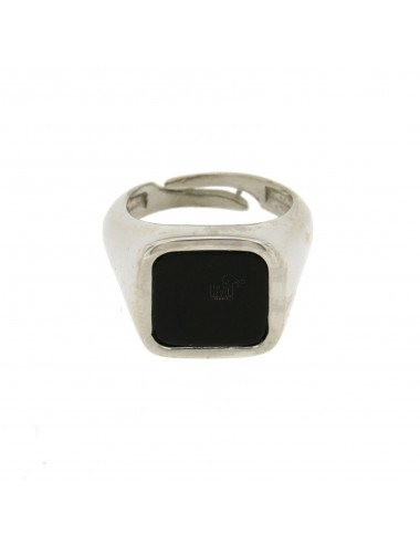 MEN&39S RING WITH STONE SQUARE 15x16 MM ONYX AND RHODIUM AG TIT 925 ‰ SIZE ADJUSTABLE