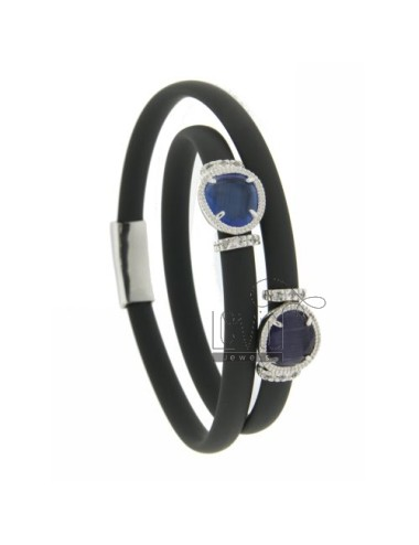 RUBBER BRACELET &39GREY WITH APPLICATIONS IN RHODIUM AG TIT 925 ‰, ZIRCONS HYDROTHERMAL VARIOUS COLORS AND STONES