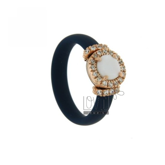 RUBBER RING &39ROUND BLUE WITH APPLICATION IN ROSE GOLD PLATED AG TIT 925 ‰, ZIRCONS HYDROTHERMAL VARIOUS COLORS AND STONES