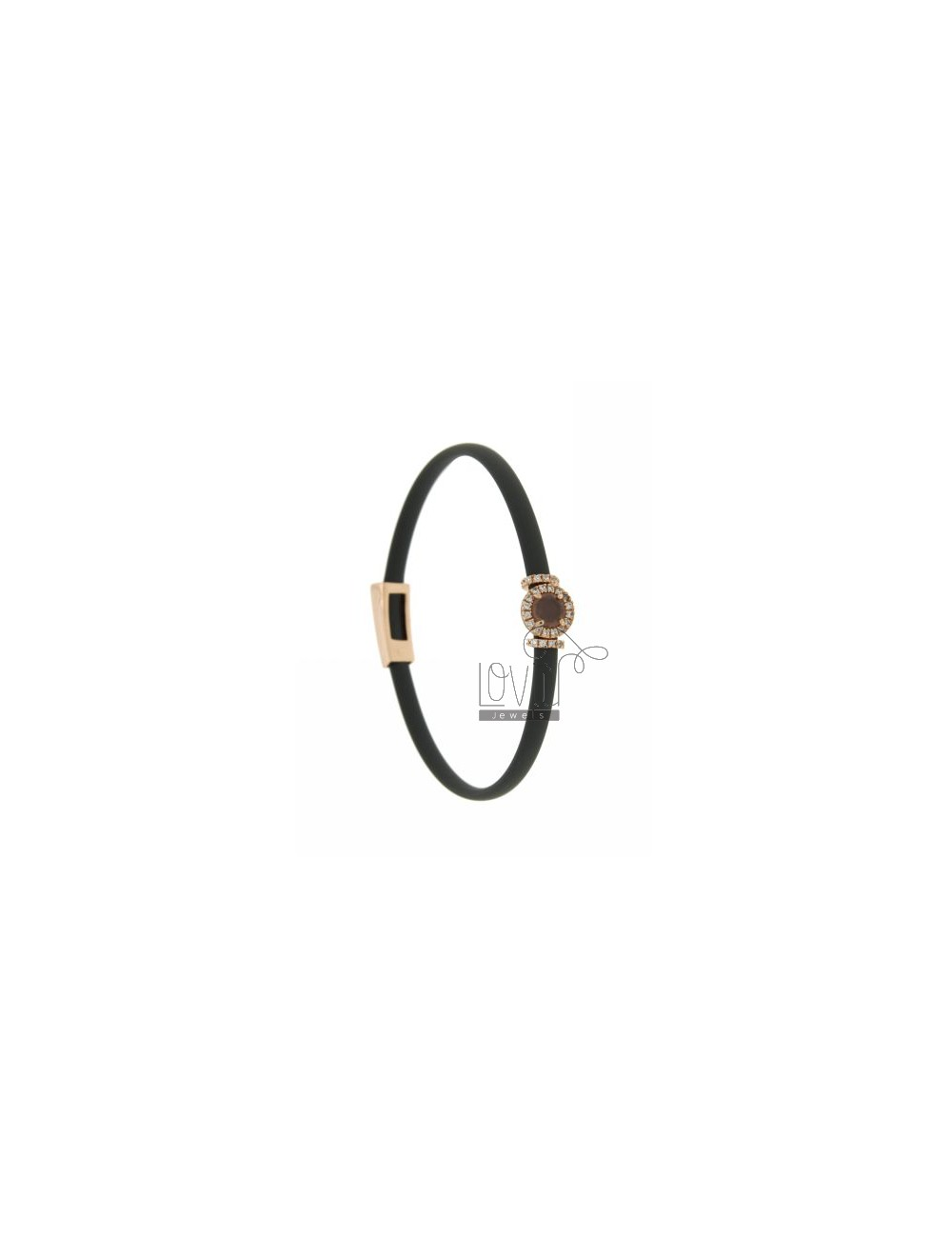 RUBBER BRACELET &39GREY AND APPLICATION ROUND ROSE GOLD PLATED AG TIT 925 ‰, ZIRCONS HYDROTHERMAL VARIOUS COLORS AND STONES