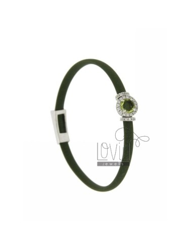RUBBER BRACELET IN &39GREEN OLIVE AND APPLICATION ROUND TIT AG RHODIUM 925 ‰, ZIRCONS HYDROTHERMAL VARIOUS COLORS AND STONES