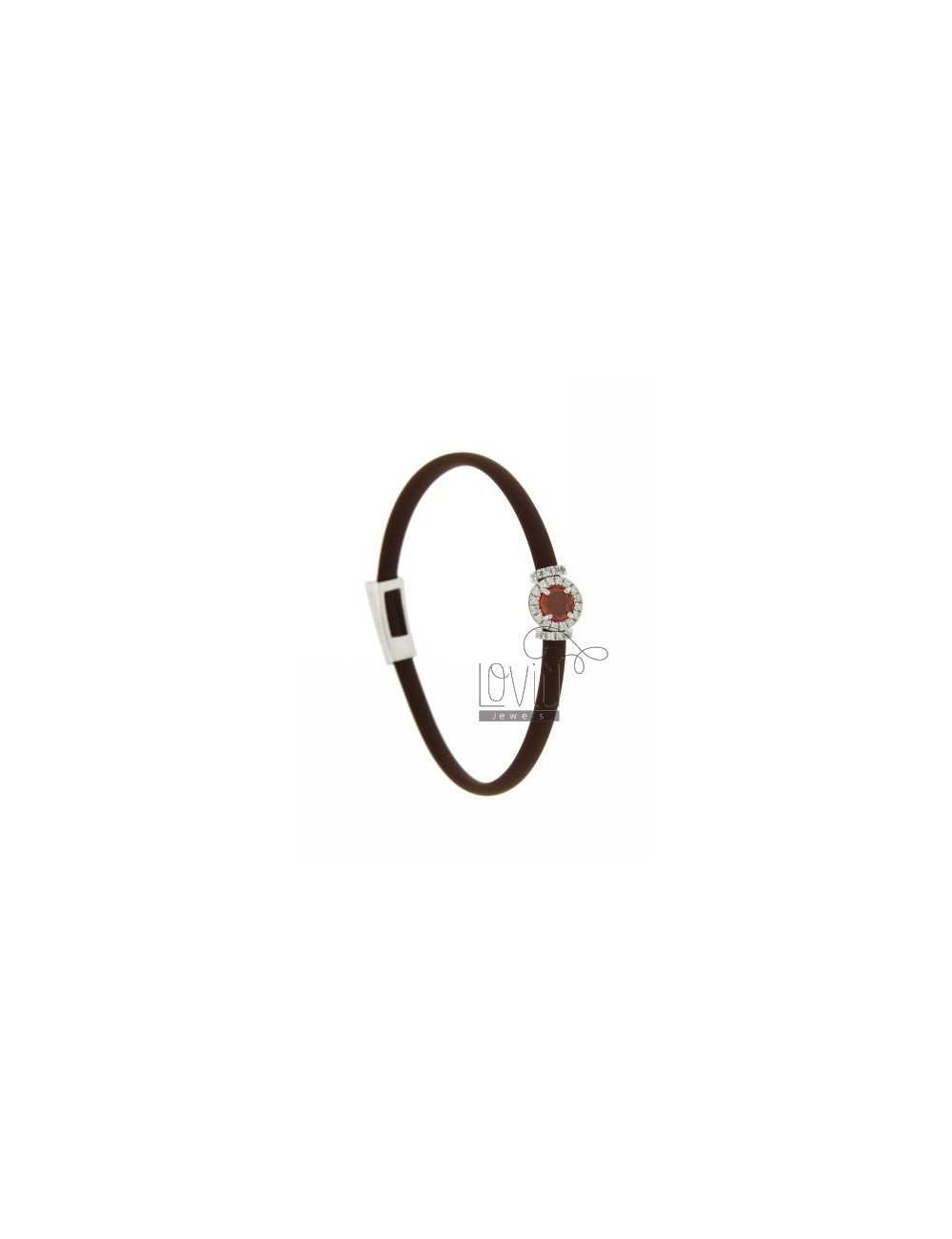 RUBBER BRACELET &39BROWN AND APPLICATION ROUND TIT AG RHODIUM 925 ‰, ZIRCONS HYDROTHERMAL VARIOUS COLORS AND STONES
