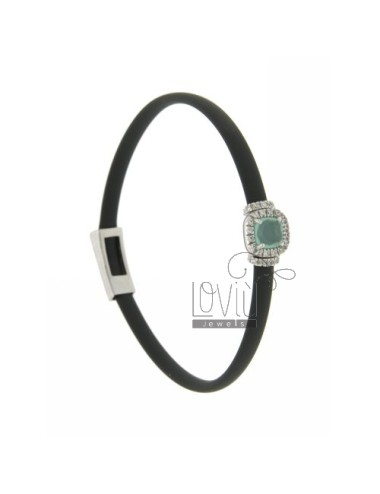RUBBER BRACELET &39GREY SQUARE WITH APPLICATION IN RHODIUM AG TIT 925 ‰, ZIRCONS HYDROTHERMAL VARIOUS COLORS AND STONES