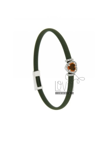 RUBBER BRACELET &39OLIVE GREEN WITH APPLICATION TO HEART IN RHODIUM AG TIT 925 ‰, ZIRCONS HYDROTHERMAL VARIOUS COLORS AND STON