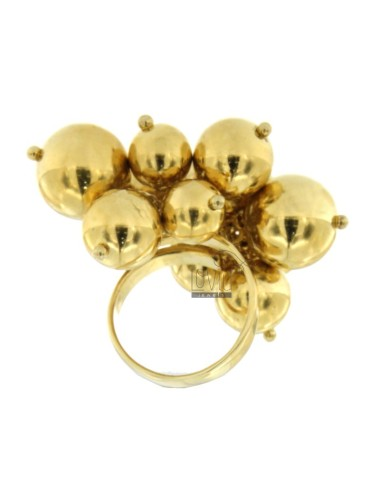 RING IN THE FORM OF A CLUSTER WITH SHINY BALLS IN MM 08.10.12 925 TIT SILVER GOLD PLATED ADJUSTABLE SIZE