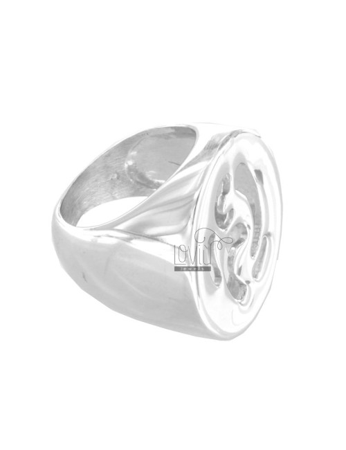Casting RING OVAL PIERCED SILVER RHODIUM TIT 925 SIZE 14