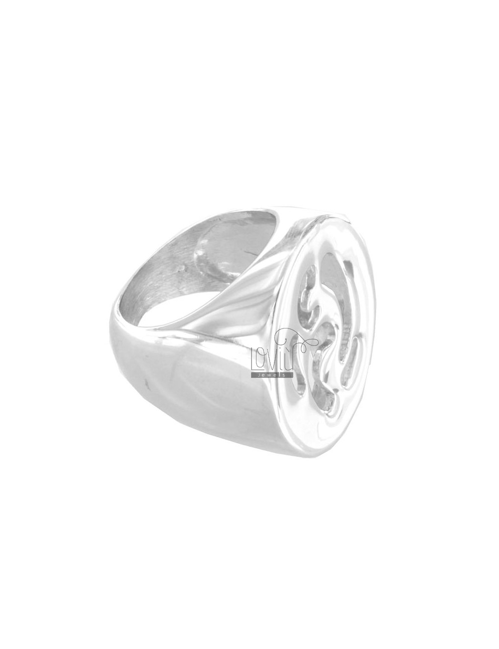 Casting RING OVAL PIERCED SILVER RHODIUM TIT 925 SIZE 16