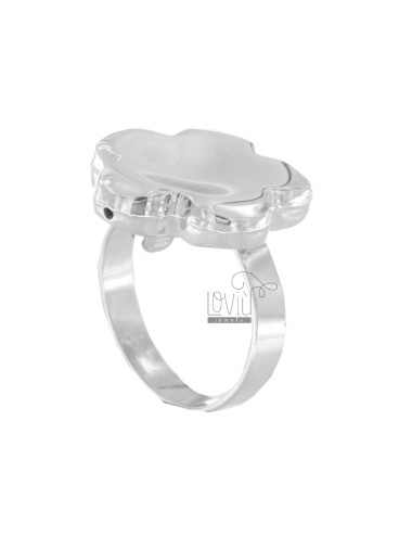 Flower ring polished silver...
