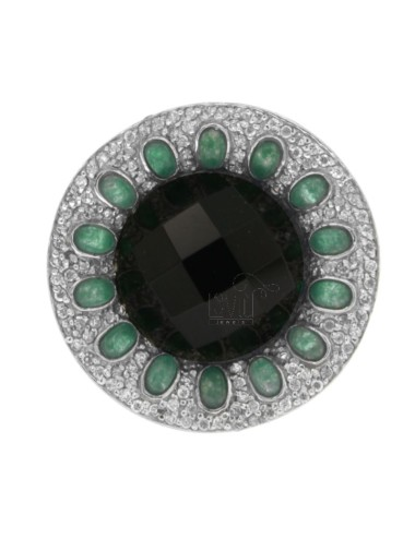 SUN RING WITH STONES HYDROTHERMAL GREEN AND BLACK AND ZIRCONIA IN TIT AG 925 SIZE 18