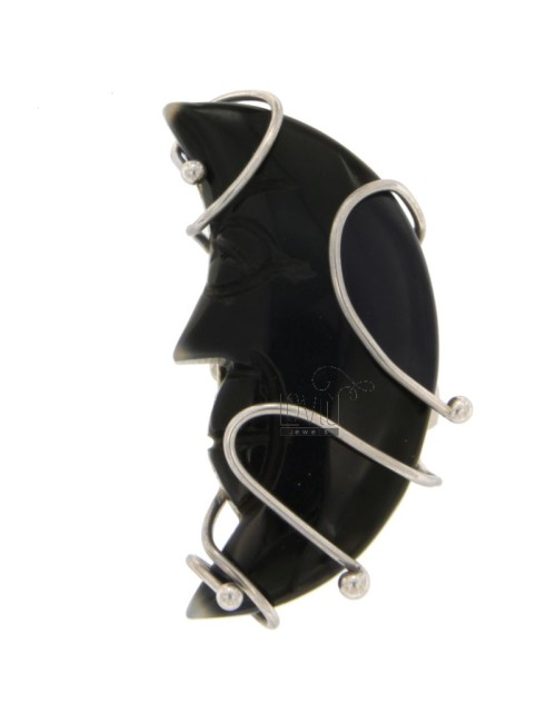 RING IN THE FORM OF THE MOON IN BLACK AGATE WITH FRAME IN RHODIUM AG TIT 925 SIZE 14