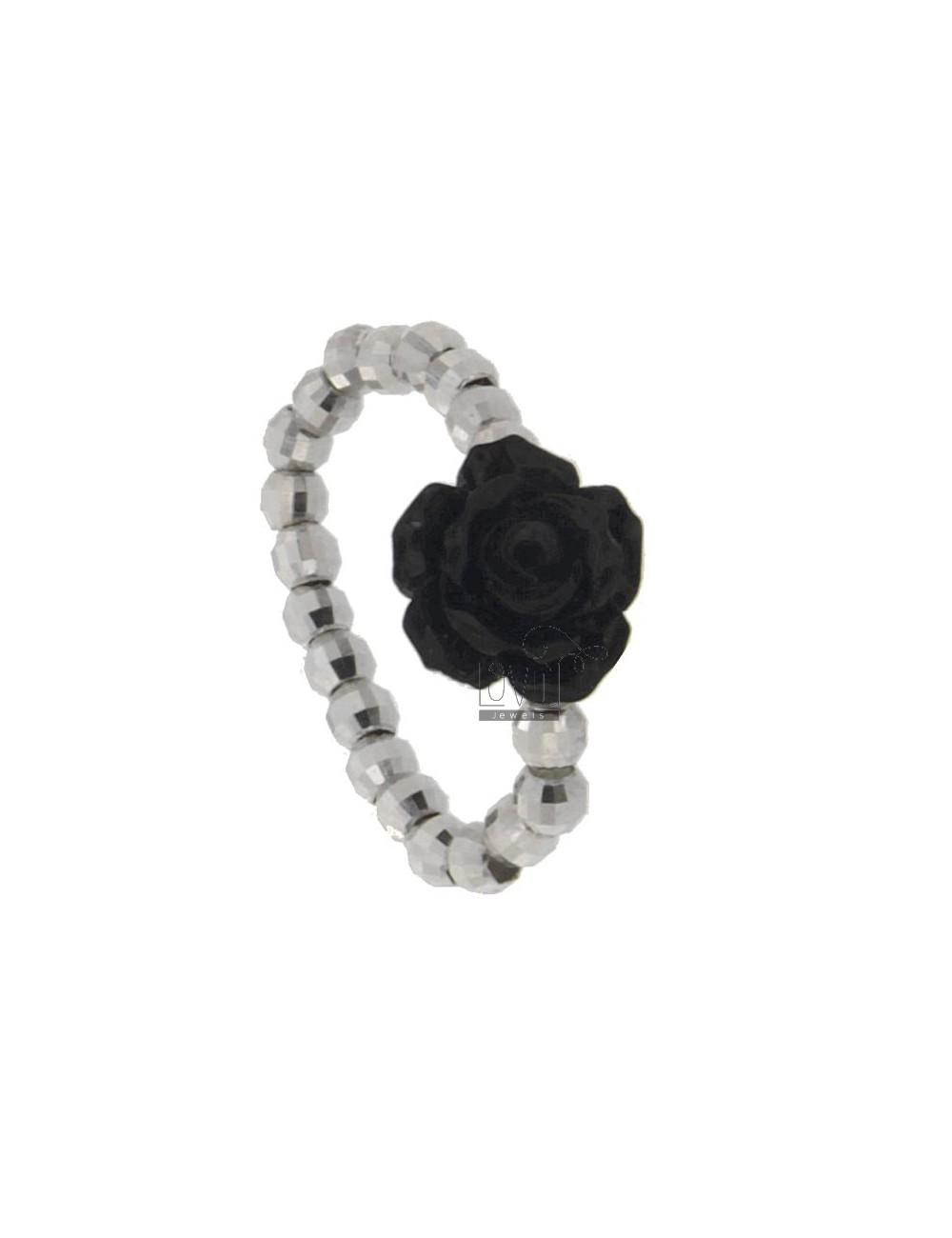 SNAP RING BALL DIAMOND 3 MM IN SIZE ADJUSTABLE RHODIUM AG ROSELLINA CENTRAL WITH RESIN BLACK COLOR