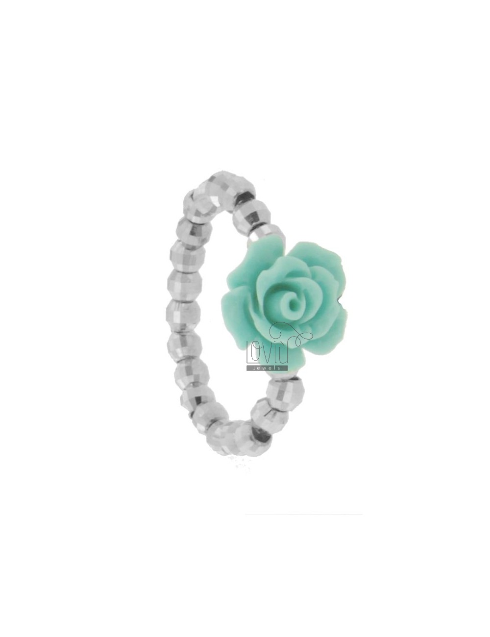 MM DIAMOND RING BAND BALL IN 3 AG RHODIUM SIZE ADJUSTABLE WITH CENTRAL ROSELLINA RESIN COLOR TURQUOISE