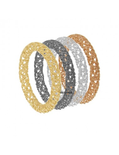 RINGS IN A NETWORK AG PLATED TUBULAR 3 mm rhodium, ruthenium, YELLOW GOLD AND PINK SIZE 18 925 TIT