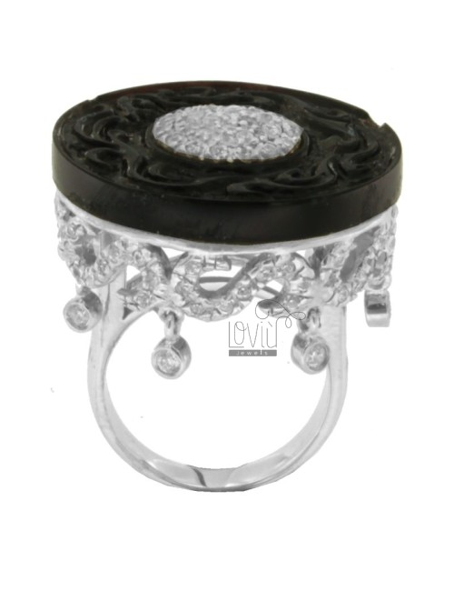 ROUND RING WITH ENGRAVED WITH BLACK RESIN BASE IN CENTRAL AND RHODIUM AG 925 TIT AND ZIRCONIA SIZE 16